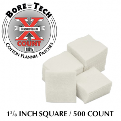 Bore Tech 1 3/8 Square Cotton Flannel Patches qty 500