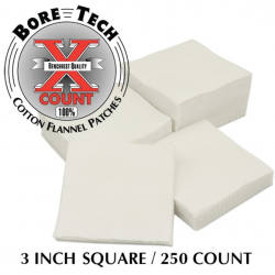 Bore Tech 3 Square Cotton Flannel Patches qty 250